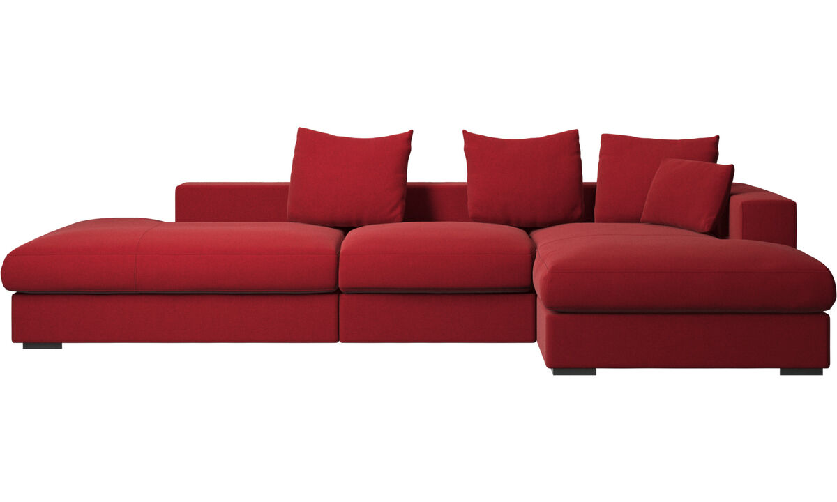 Sofas with open end - Cenova sofa with lounging and resting unit - Red - Fabric