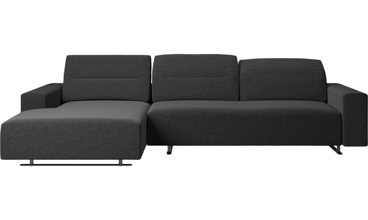 Καναπέδες με ανάκλινδρο - Hampton sofa with adjustable back and resting unit left side, storage right side - Μαύρο - Ύφασμα