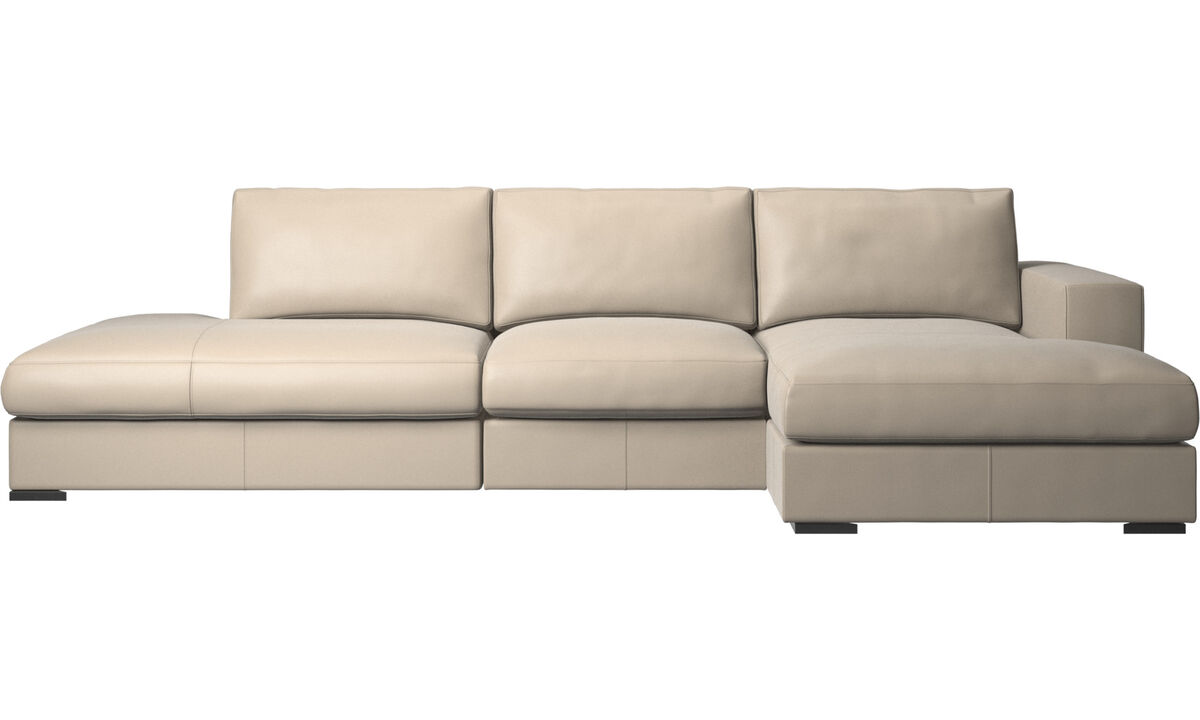 Sofas with open end - Cenova sofa with lounging and resting unit - Beige - Leather