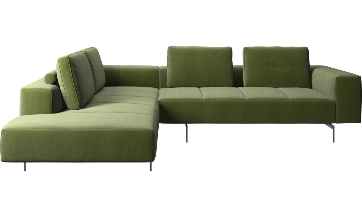 Sofás modulares - sofá esquinero Amsterdam con módulo de descanso - En verde - Tela