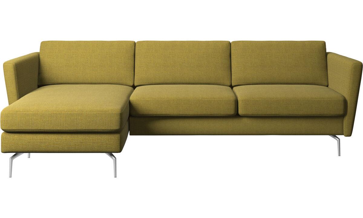 Sofás com chaise - Sofá Osaka com módulo chaise-longue, assento regular - Amarelo - Tecido