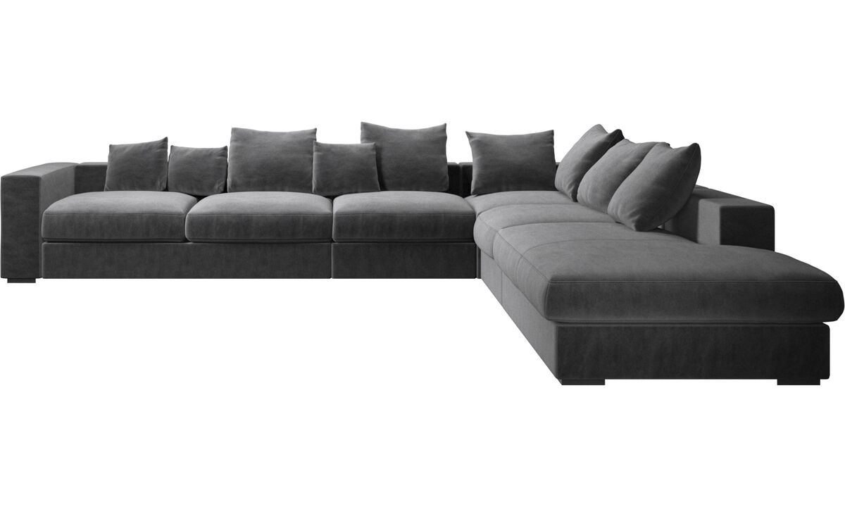Corner sofas - Cenova corner sofa with lounging unit - Grey - Fabric