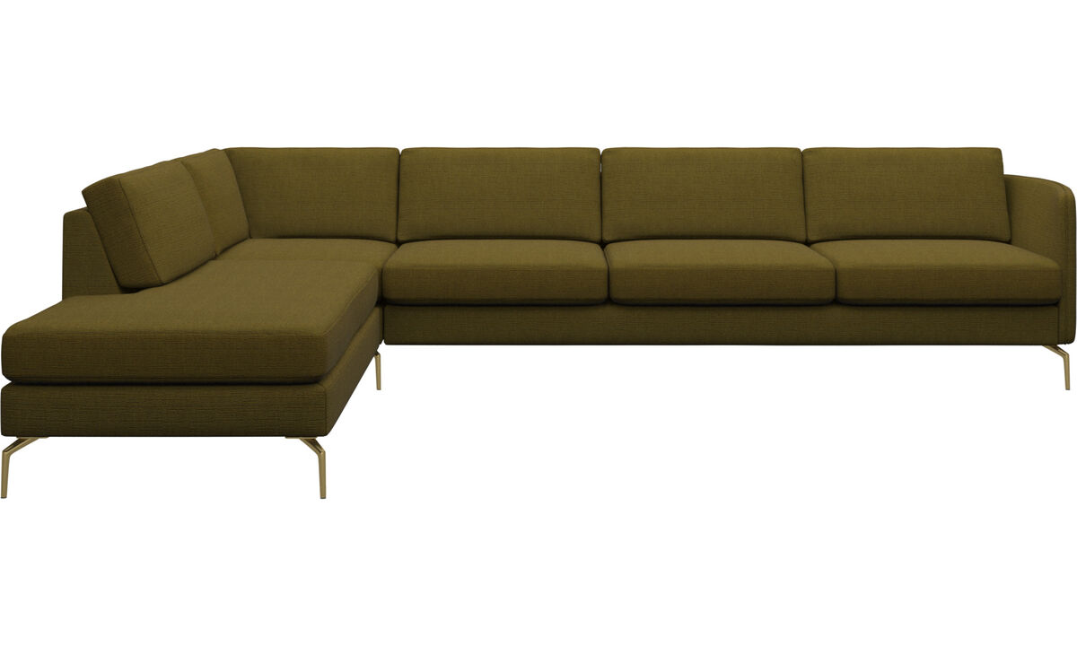 Sofas with open end - Osaka corner sofa with lounging unit, regular seat - Yellow - Fabric