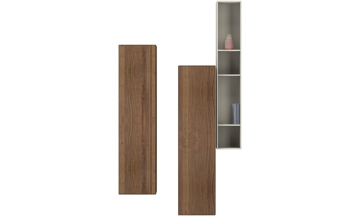 Wall systems - Lugano wall mounted cabinets - Grey - Walnut