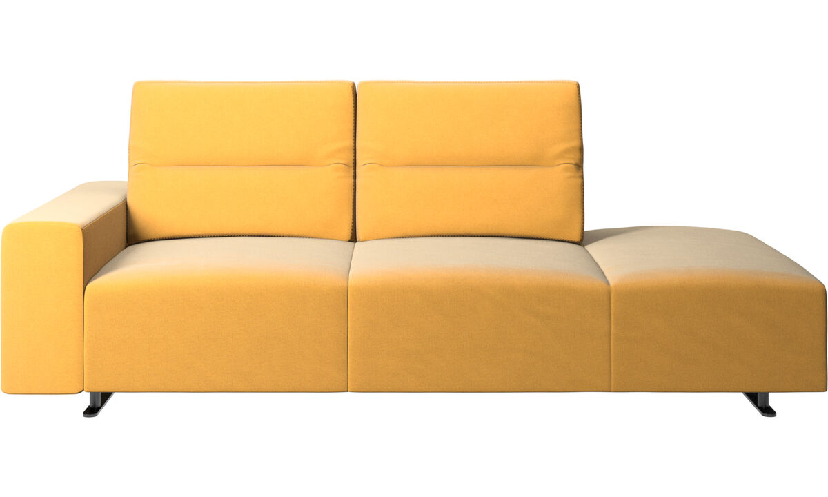 Sofas with open end - Hampton sofa with adjustable back and lounging unit right side, armrest left - Yellow - Fabric