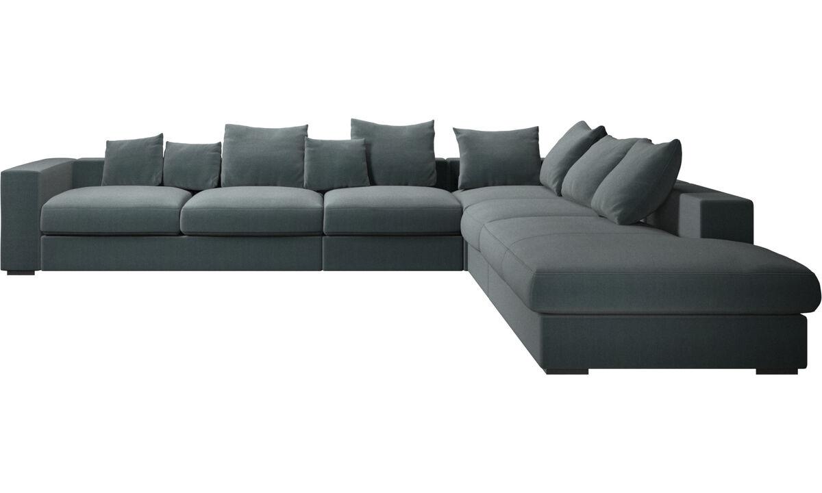 Sofás com canto aberto - sofá de canto Cenova com módulo de descanso - Azul - Tecido