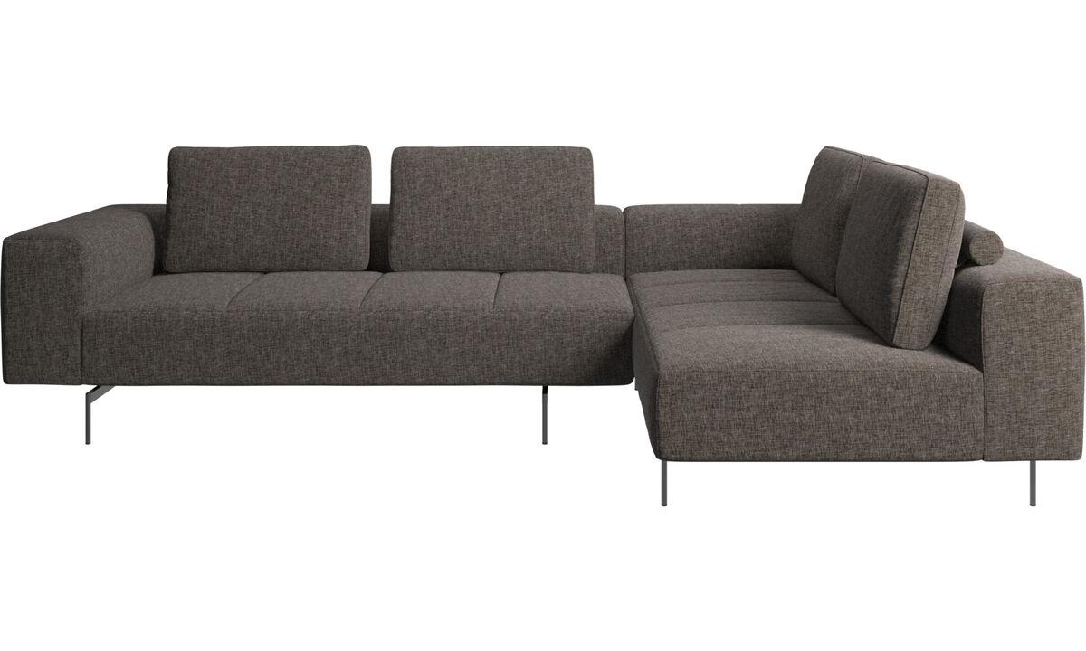 Modular sofas - Amsterdam corner sofa with lounging unit - Brown - Fabric