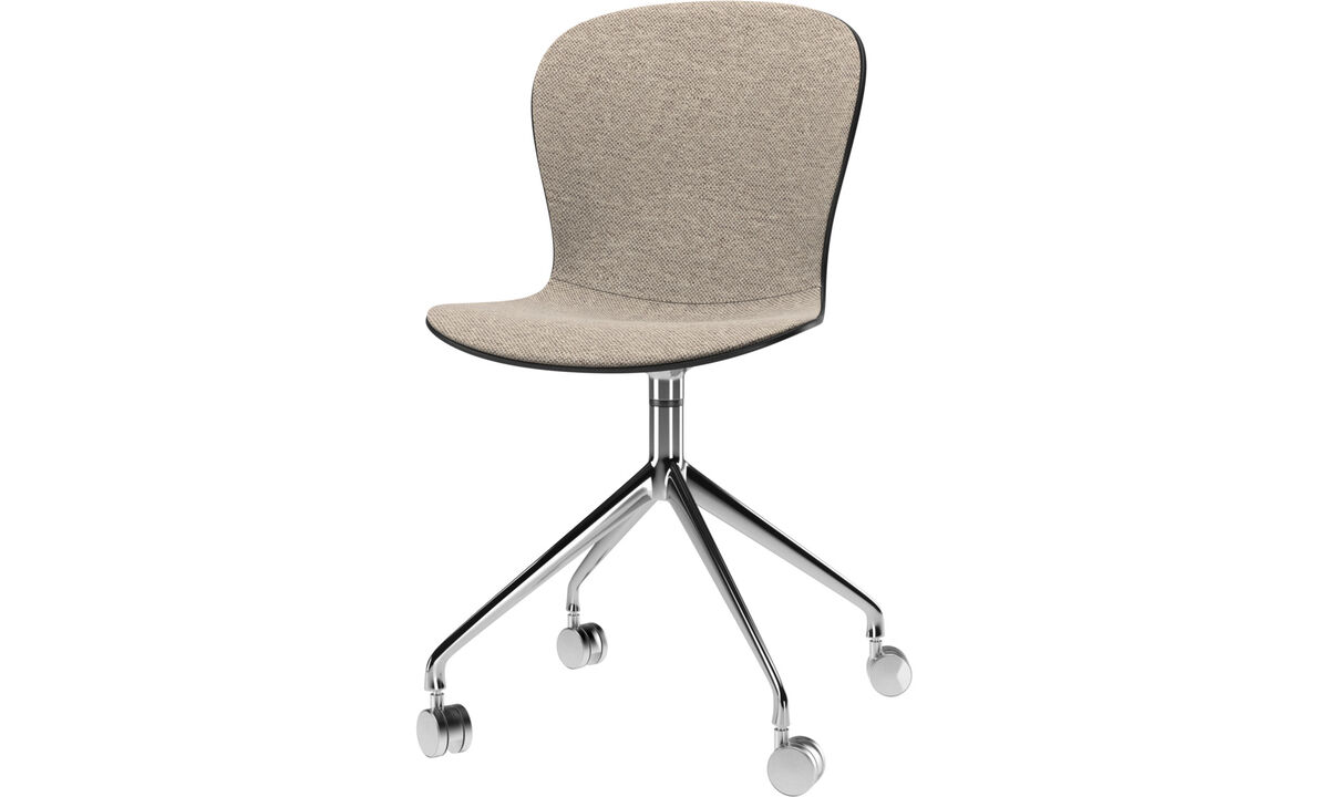 Dining chairs - Adelaide chair with swivel function and wheels - Beige - Fabric