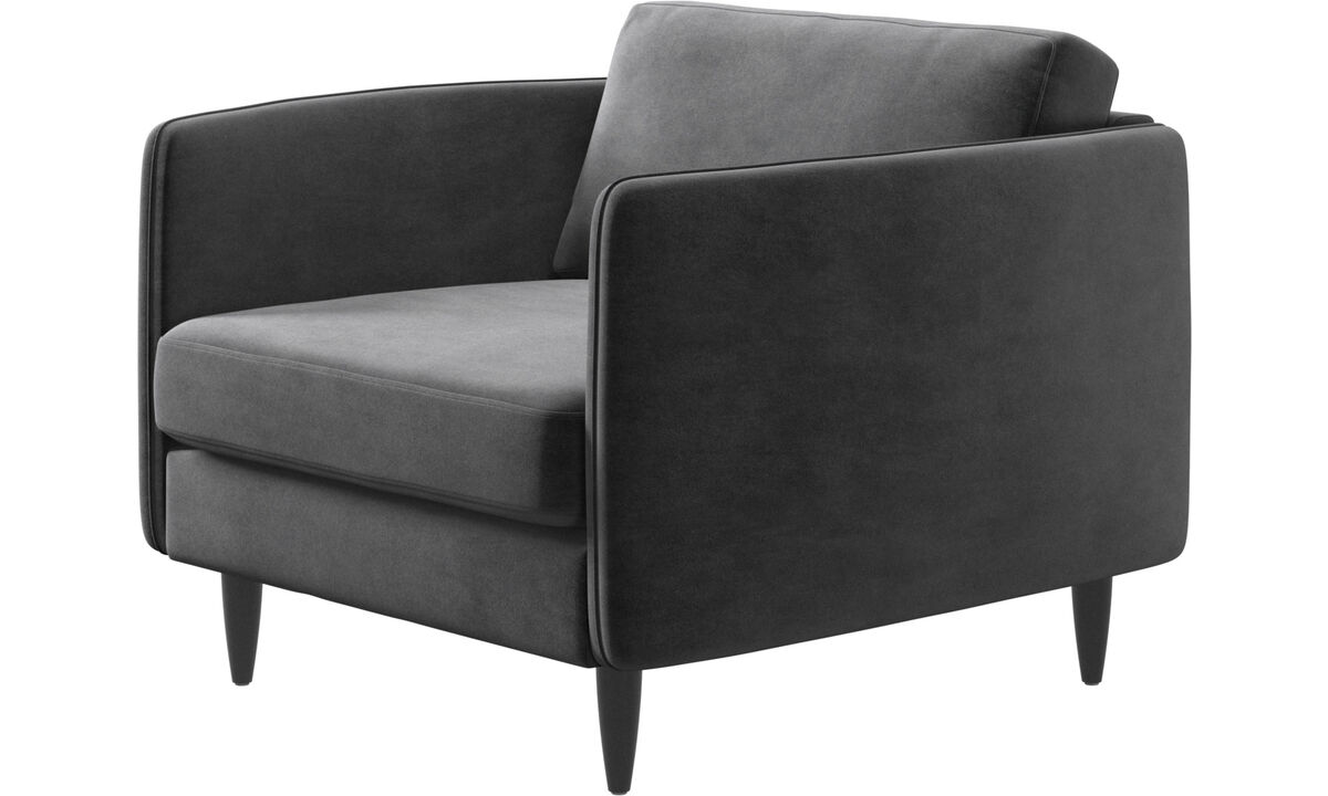 Armchairs - Osaka chair, regular seat - Grey - Fabric