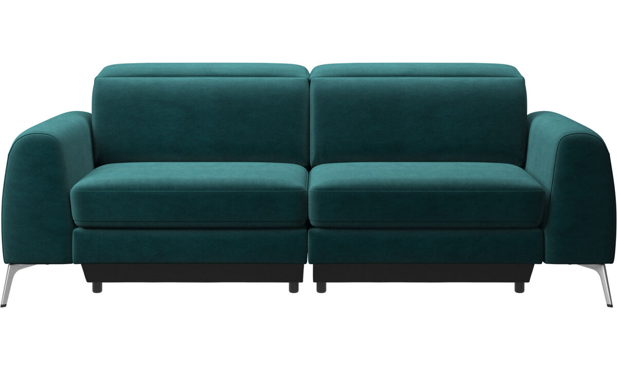 3 seater sofas - Madison sofa with electric seat, head and footrest motion (transformer and cable plug-in included) - Blue - Fabric