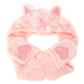Kids Pink Hearts Plush Hat with Hand Warmers,