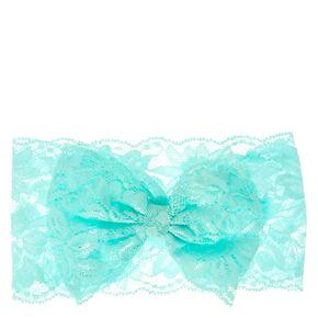 Kids Mint Bow-tie Lace Headwrap,