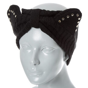 Black Cold Weather Cat Ears Headwrap,