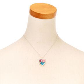 Glitter Unicorn  Heart Locket Silver-tone Necklace,