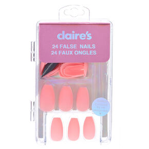 Matte Pastel Pink Coffin Shape Faux Nails,