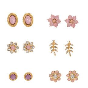 Blush Pink Crystal Flower Stud Earrings,
