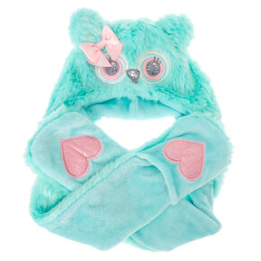 Kids Owl Plush Hat with Hand Warmers,