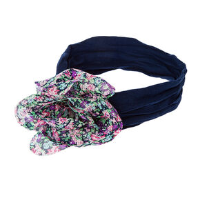 Kids Floral Print Flower Navy Mesh Headwrap,
