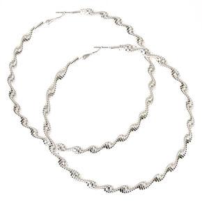 100MM Silver-tone Twisted Hoop Earrings,