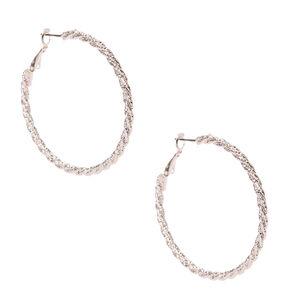 50MM Silver-tone Textured Roped Hoop Earrings,