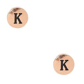 Initial K Engraved Gold-tone Circle Stud Earrings,