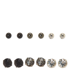 Mixed Metal Crystal and Ball Stud Earrings,