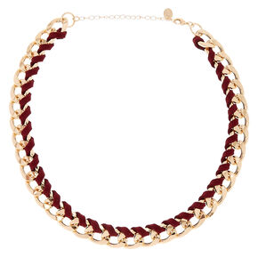 Gold-Tone and Burgandy Suede Wrapped Chain Necklace,