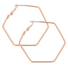 40MM Sensitive Solutions Rose Gold Hexagon Hoop Earrings,