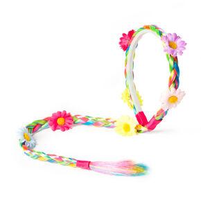 Rainbow Faux Hair Braid Headband with Flowers,