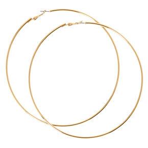 120MM Gold-tone Skinny Hoop Earrings,