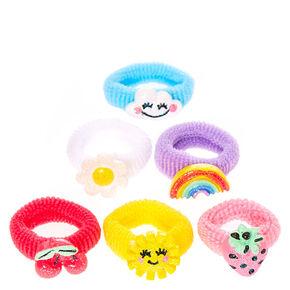 Kids Bright Summer Charms Ribbed Hair Ties,