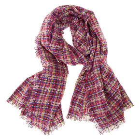 Colorful Marled Plaid Blanket Scarf,