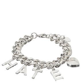 Silver-Tone HATE Charm Bracelet,