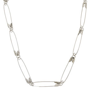 Silver Safety Pin Necklace,