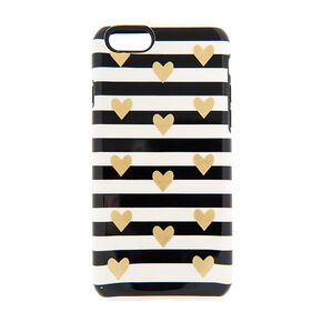 Foiled Gold Hearts Black & White Phone Case,