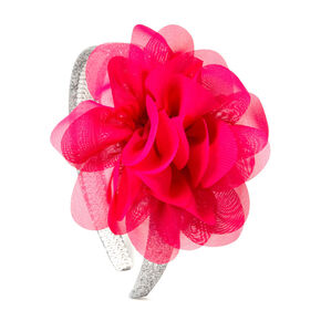 Kids Silver Glitter Headband with Pink Flower,