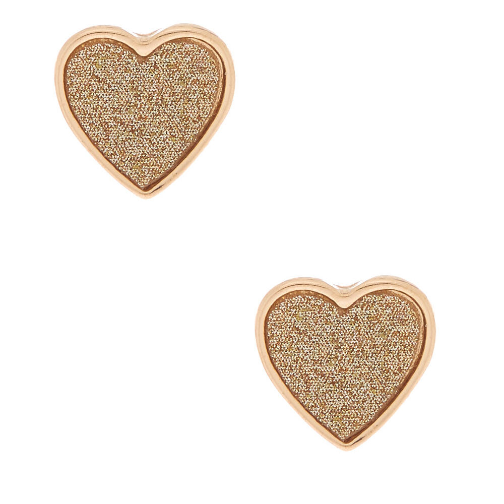 Ben Informato Claire's Gold Glitter Orecchini A Bottone Cuore-mostra Il Titolo Originale